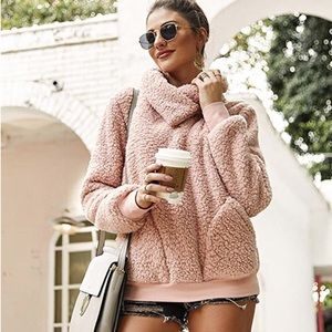 Jackets & Blazers - COMING SOON! Blush Pink Faux Fur Fuzzy Pullover